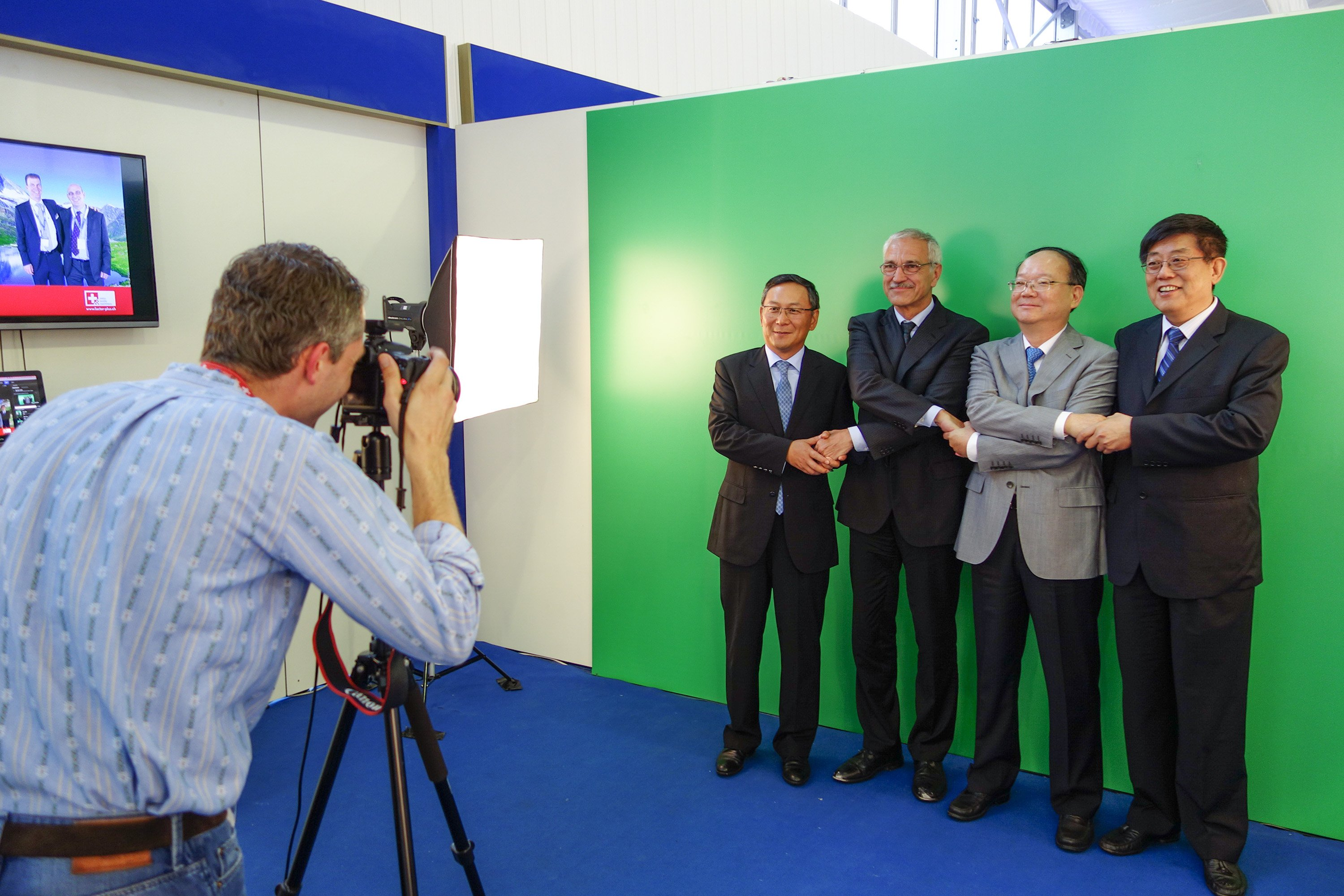 Greenscreen Fotostudio für SWISSMEM an der ITMA 2014 in Shanghai, China