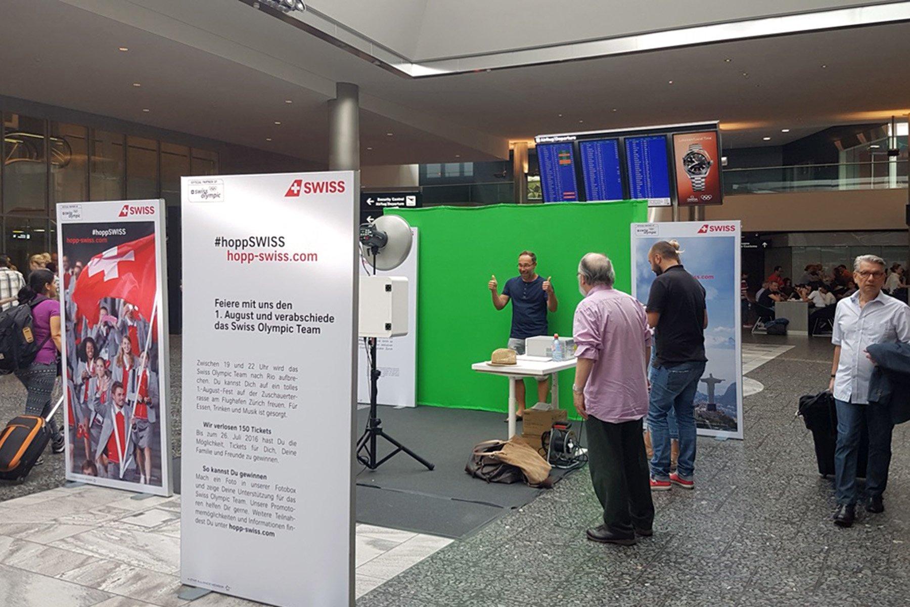 Fotobox mit Facebook Upload für Swiss Airlines