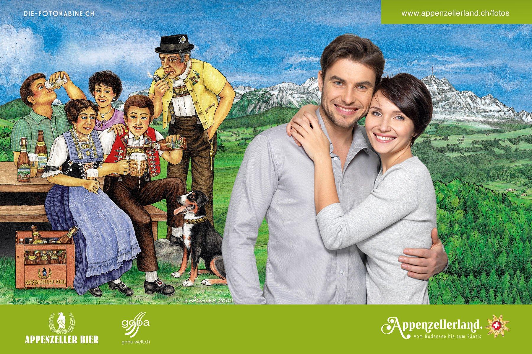 Fotobox mit externem Terminal und Gewinnspiel für Appenzellerland Tourismus